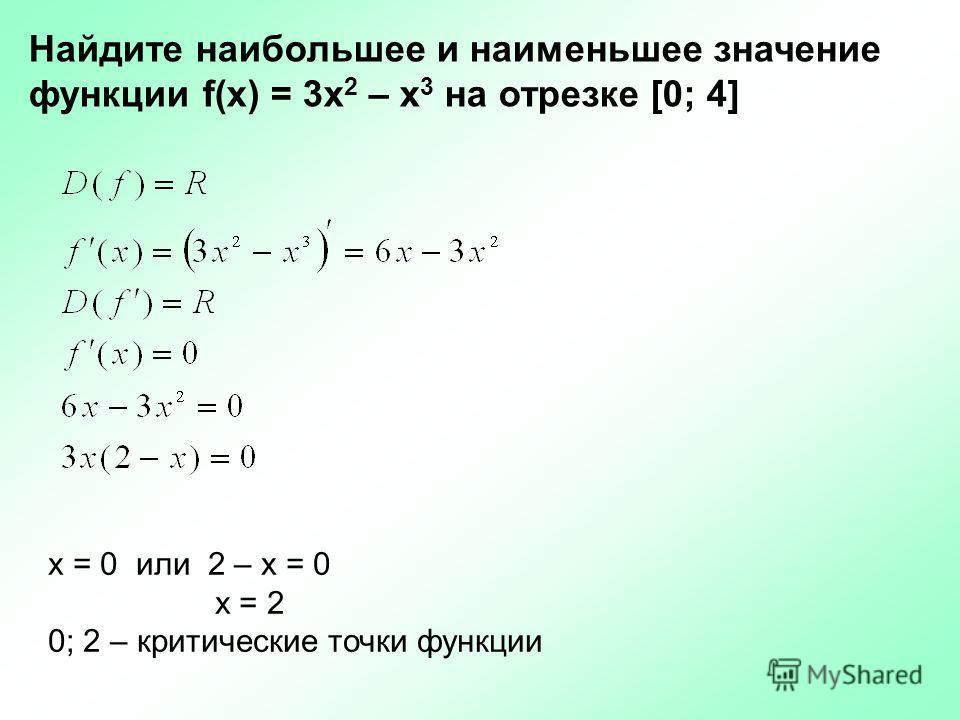 x = 0 или 2 – х = 0 х = 2 0; 2 – критические точки функции Найдите наибольшее и наименьшее значение функции f(x) = 3x 2 – x 3 на отрезке [0; 4]