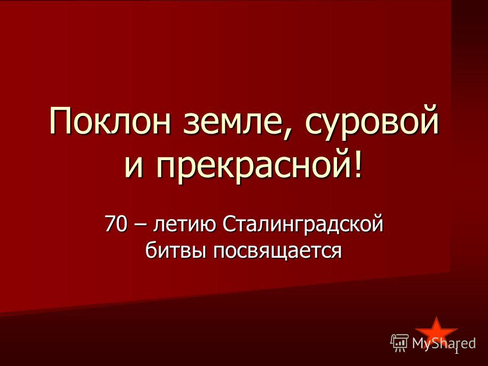 Поклон земле, суровой и прекрасной! 70 – летию Сталинградской битвы посвящается 1