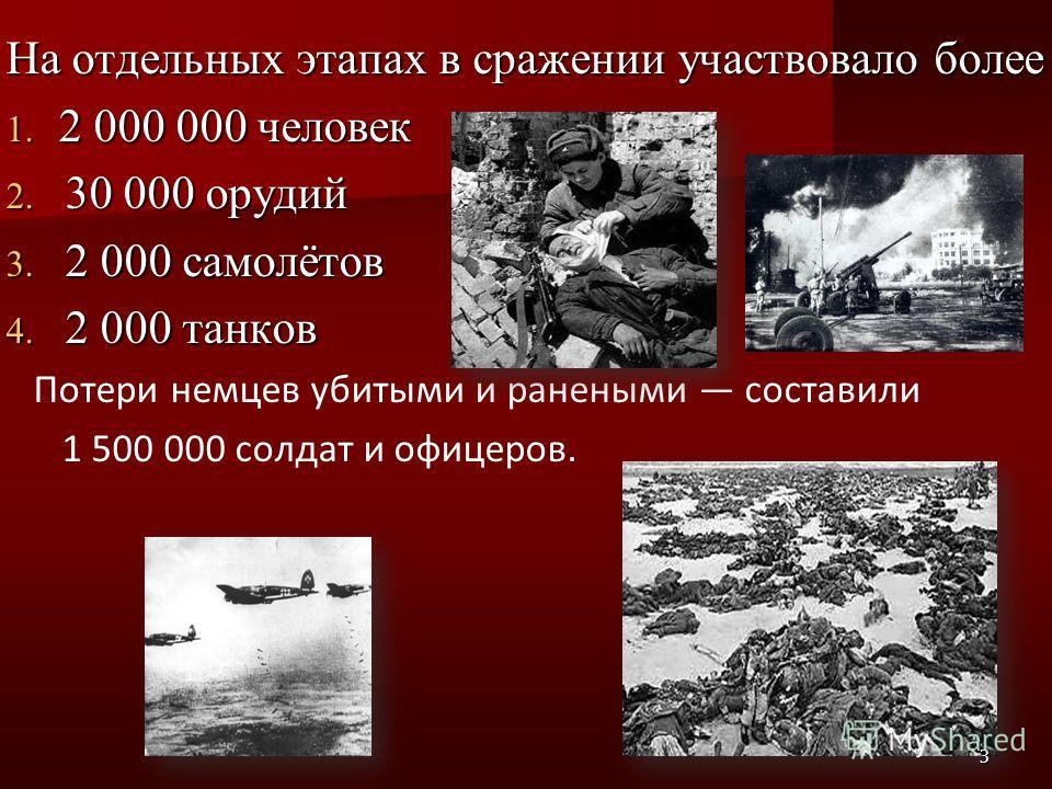 На отдельных этапах в сражении участвовало более 1. 2 000 000 человек 2. 30 000 орудий 3. 2 000 самолётов 4. 2 000 танков Потери немцев убитыми и ранеными составили 1 500 000 солдат и офицеров. 3