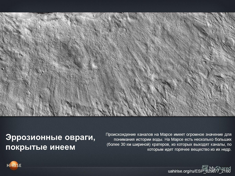 Эррозионные овраги, покрытые инеем uahirise.org/ru/ESP_029877_2160 Происхождение каналов на Марсе имеет огромное значение для понимания истории воды. На Марсе есть несколько больших (более 30 км шириной) кратеров, из которых выходят каналы, по которы