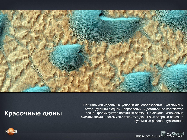 Красочные дюны uahirise.org/ru/ESP_033272_1400 При наличии идеальных условий дюнообразования - устойчивый ветер, дующий в одном направлении, и достаточное количество песка - формируются песчаные барханы. Бархан - изначально русский термин, потому что