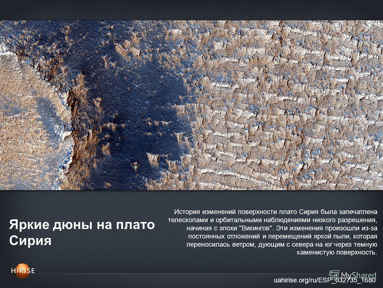 Яркие дюны на плато Сирия uahirise.org/ru/ESP_032735_1680 История изменений поверхности плато Сирия была запечатлена телескопами и орбитальными наблюдениями низкого разрешения, начиная с эпохи