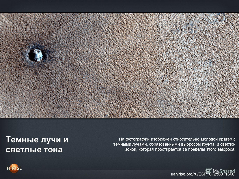 Темные лучи и светлые тона uahirise.org/ru/ESP_012560_1660 На фотографии изображен относительно молодой кратер с темными лучами, образованными выбросом грунта, и светлой зоной, которая простирается за пределы этого выброса.