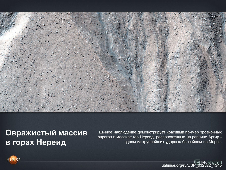 Овражистый массив в горах Нереид uahirise.org/ru/ESP_032522_1345 Данное наблюдение демонстрирует красивый пример эрозионных оврагов в массиве гор Нереид, расположенных на равнине Аргир - одном из крупнейших ударных бассейном на Марсе.