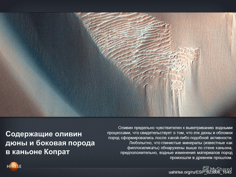 Содержащие оливин дюны и боковая порода в каньоне Копрат uahirise.org/ru/ESP_023806_1645 Оливин предельно чувствителен к выветриванию водными процессами, что свидетельствует о том, что эти дюны и обломки пород сформировались после какой-либо подобной