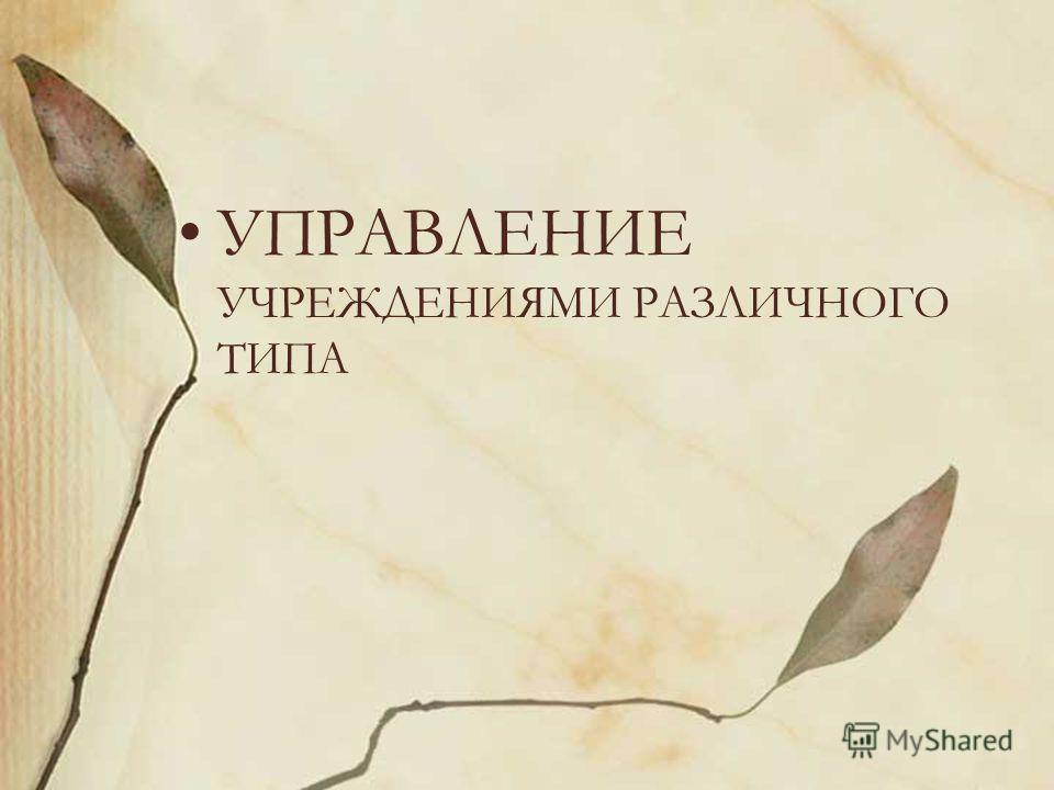 УПРАВЛЕНИЕ УЧРЕЖДЕНИЯМИ РАЗЛИЧНОГО ТИПА