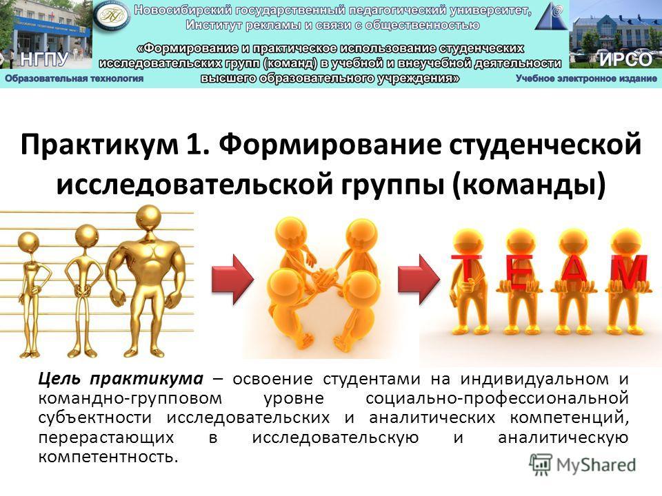 Практикум 1. Формирование студенческой исследовательской группы (команды) Цель практикума – освоение студентами на индивидуальном и командно-групповом уровне социально-профессиональной субъектности исследовательских и аналитических компетенций, перер