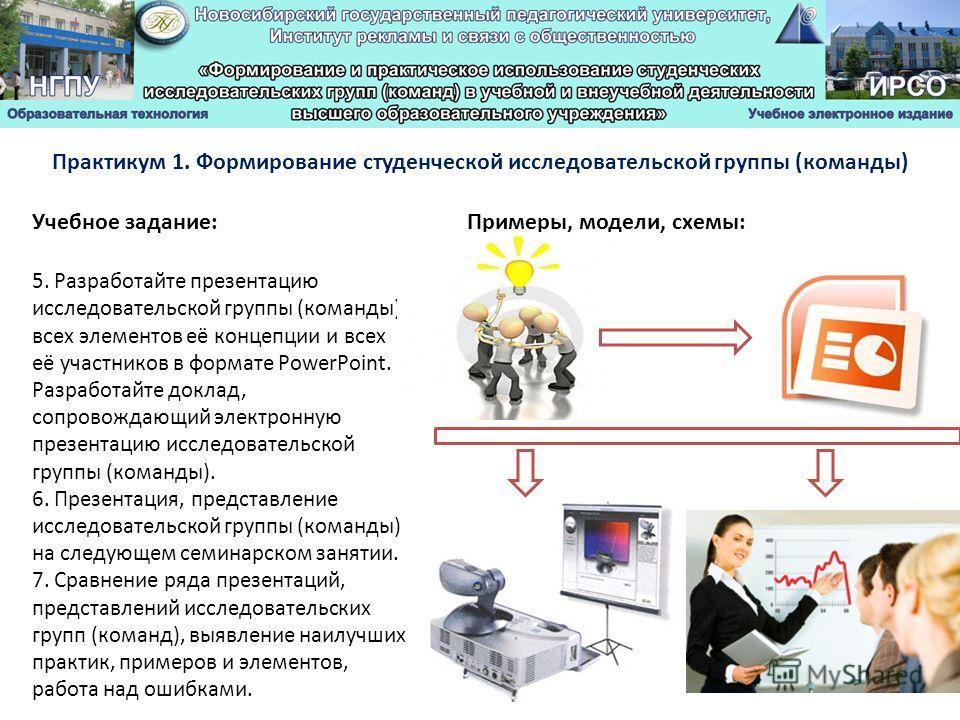 Учебное задание: Практикум 1. Формирование студенческой исследовательской группы (команды) Примеры, модели, схемы: 5. Разработайте презентацию исследовательской группы (команды), всех элементов её концепции и всех её участников в формате PowerPoint.