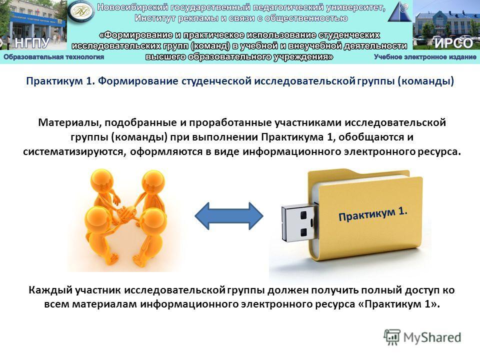 Материалы, подобранные и проработанные участниками исследовательской группы (команды) при выполнении Практикума 1, обобщаются и систематизируются, оформляются в виде информационного электронного ресурса. Каждый участник исследовательской группы долже