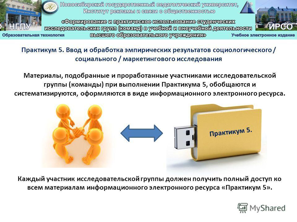 Материалы, подобранные и проработанные участниками исследовательской группы (команды) при выполнении Практикума 5, обобщаются и систематизируются, оформляются в виде информационного электронного ресурса. Каждый участник исследовательской группы долже