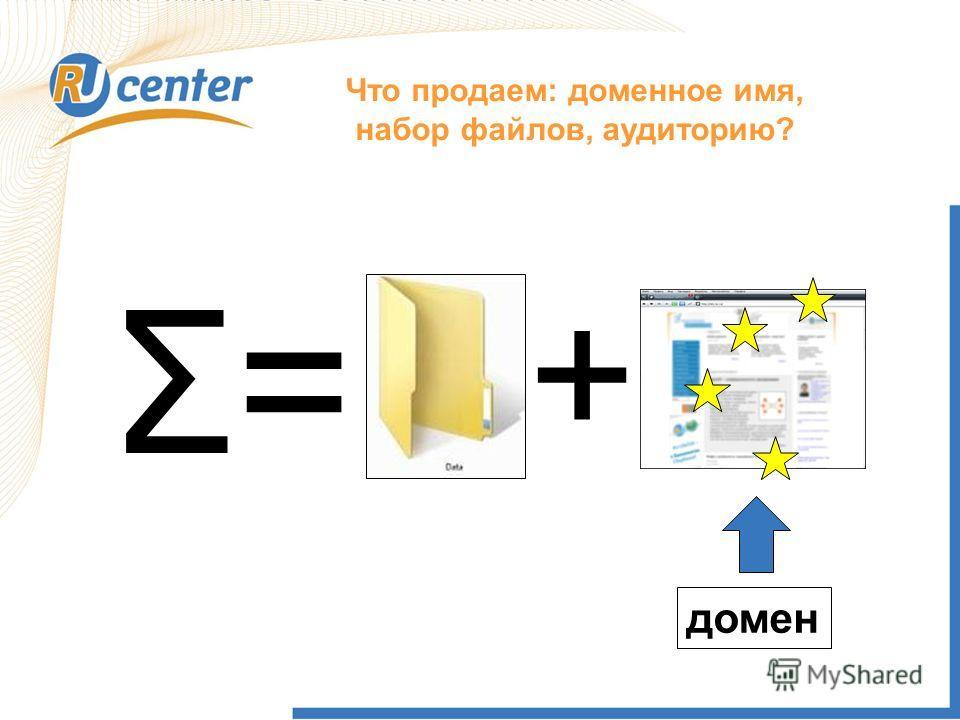 Что продаем: доменное имя, набор файлов, аудиторию? Σ=Σ= + домен