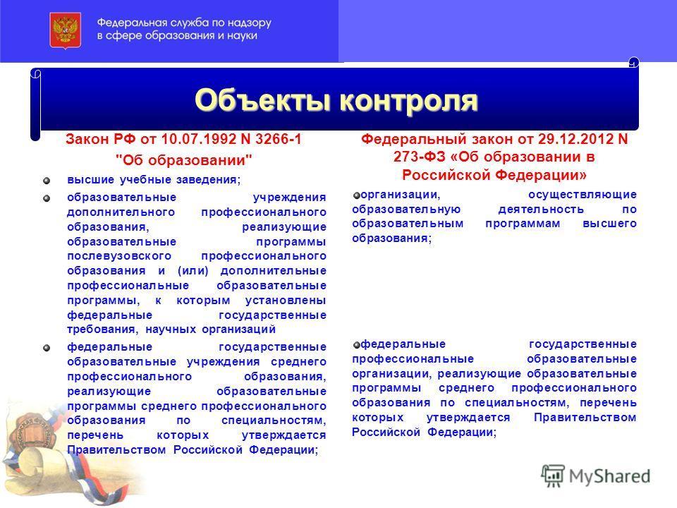 Объекты контроля Закон РФ от 10.07.1992 N 3266-1