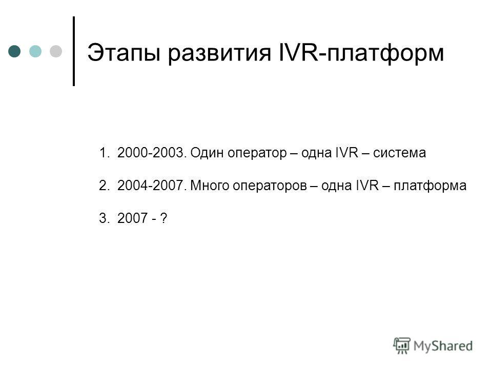 Этапы развития IVR-платформ 1.2000-2003. Один оператор – одна IVR – система 2.2004-2007. Много операторов – одна IVR – платформа 3.2007 - ?