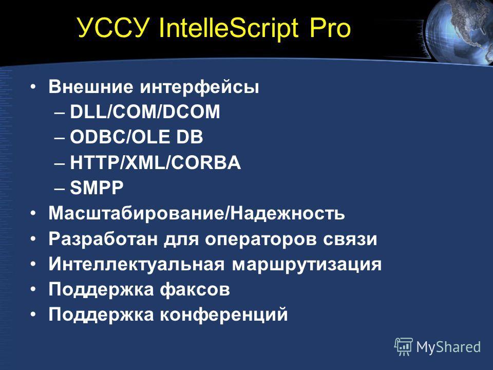 УССУ IntelleScript Pro Внешние интерфейсы –DLL/COM/DCOM –ODBC/OLE DB –HTTP/XML/CORBA –SMPP Масштабирование/Надежность Разработан для операторов связи Интеллектуальная маршрутизация Поддержка факсов Поддержка конференций