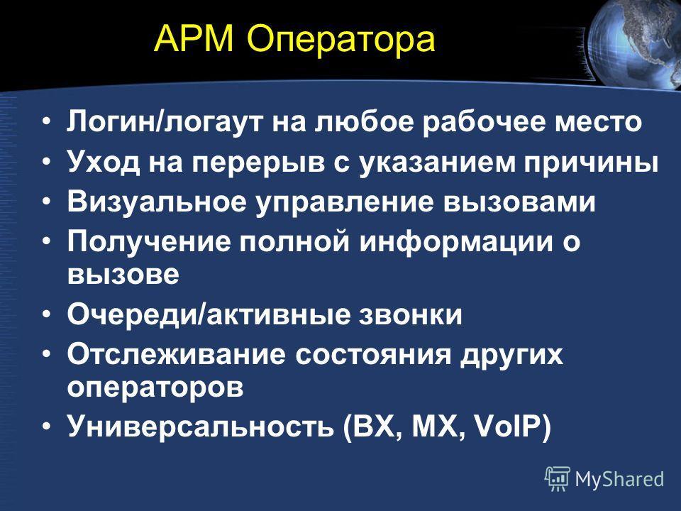 АРМ Оператора Логин/логаут на любое рабочее место Уход на перерыв с указанием причины Визуальное управление вызовами Получение полной информации о вызове Очереди/активные звонки Отслеживание состояния других операторов Универсальность (BX, MX, VoIP)