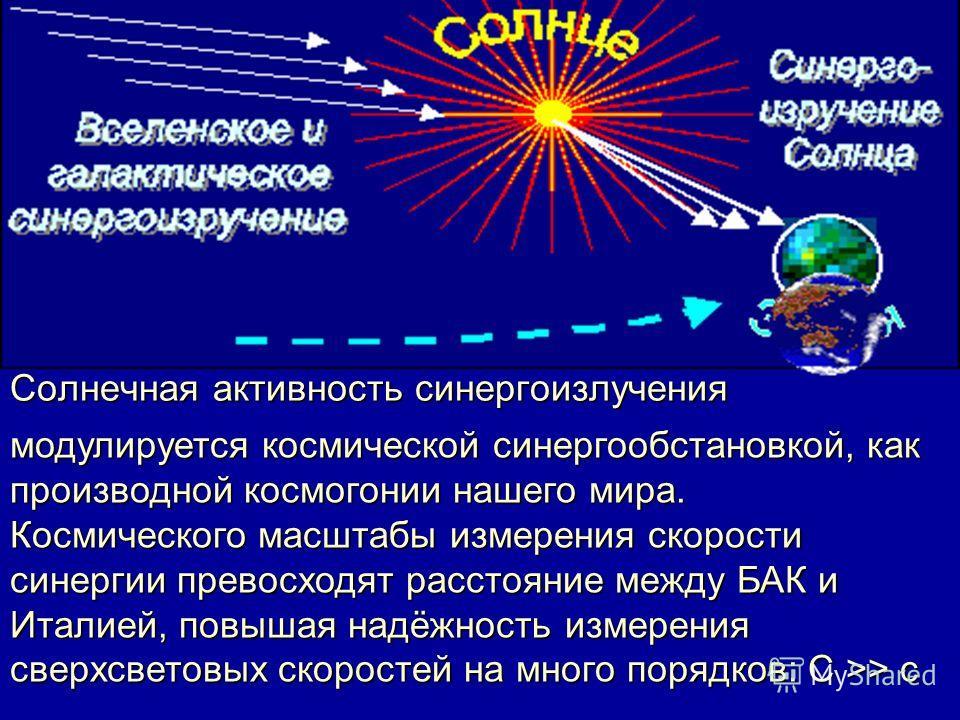 Солнечная активность синергоизлучения модулируется космической синергообстановкой, как производной космогонии нашего мира. Космического масштабы измерения скорости синергии превосходят расстояние между БАК и Италией, повышая надёжность измерения свер