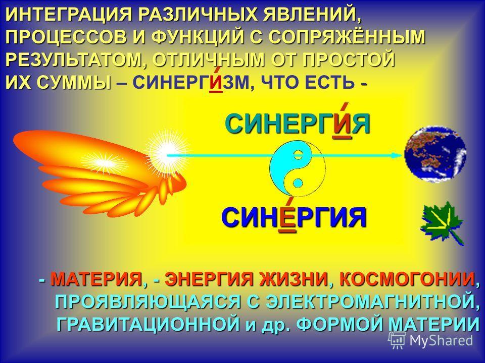 СИНЕРГИЯ СИНЕРГИЯ СИНЕРГИЯ СИНЕРГИЯ ИНТЕГРАЦИЯ РАЗЛИЧНЫХ ЯВЛЕНИЙ, ПРОЦЕССОВ И ФУНКЦИЙ С СОПРЯЖЁННЫМ РЕЗУЛЬТАТОМ, ОТЛИЧНЫМ ОТ ПРОСТОЙ ИХ СУММЫ - ИНТЕГРАЦИЯ РАЗЛИЧНЫХ ЯВЛЕНИЙ, ПРОЦЕССОВ И ФУНКЦИЙ С СОПРЯЖЁННЫМ РЕЗУЛЬТАТОМ, ОТЛИЧНЫМ ОТ ПРОСТОЙ ИХ СУММЫ