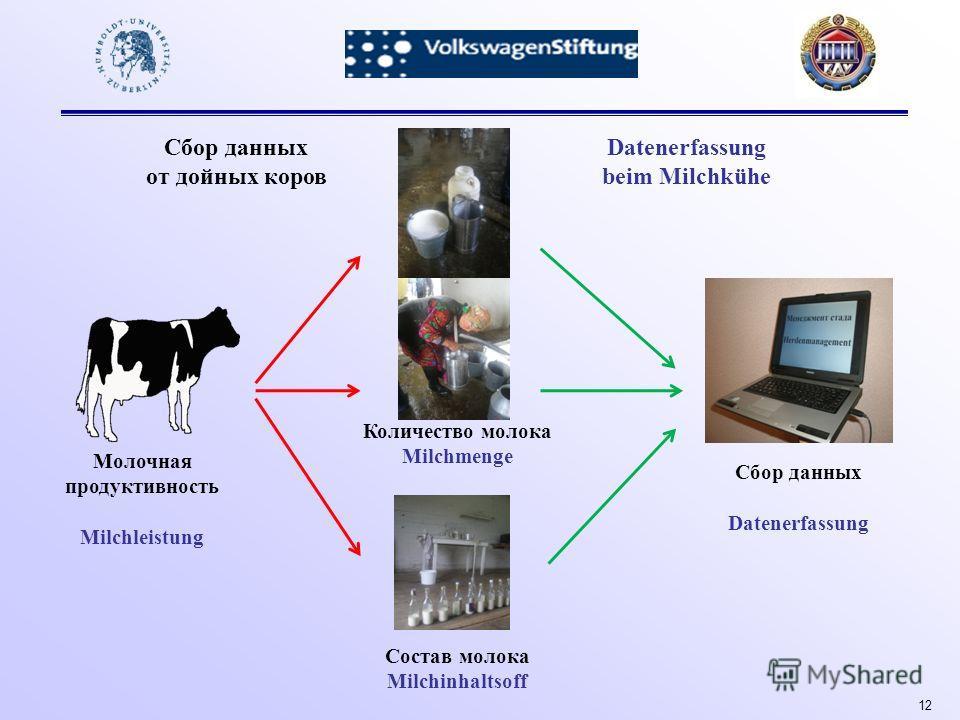 12 Молочная продуктивность Milchleistung Состав молока Milchinhaltsoff Количество молока Milchmenge Сбор данных Datenerfassung Сбор данных от дойных коров Datenerfassung beim Milchkühe