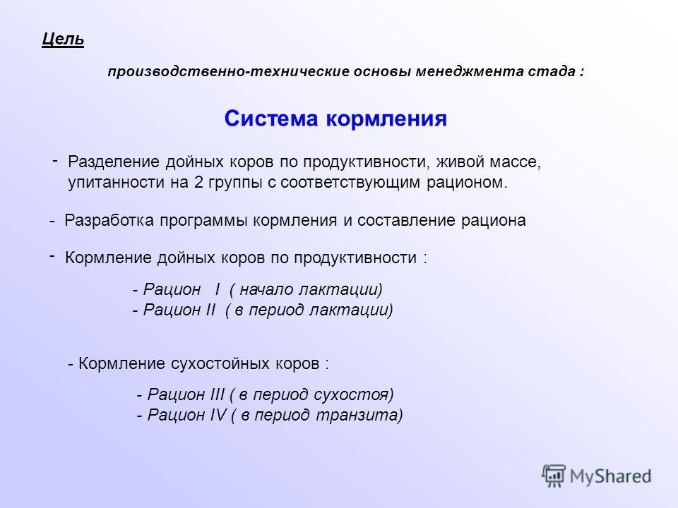 - Рацион I ( начало лактации) - Рацион II ( в период лактации) Цель - Разработка программы кормления и составление рациона Кормление дойных коров по продуктивности : - - Кормление сухостойных коров : - Рацион III ( в период сухостоя) - Рацион IV ( в