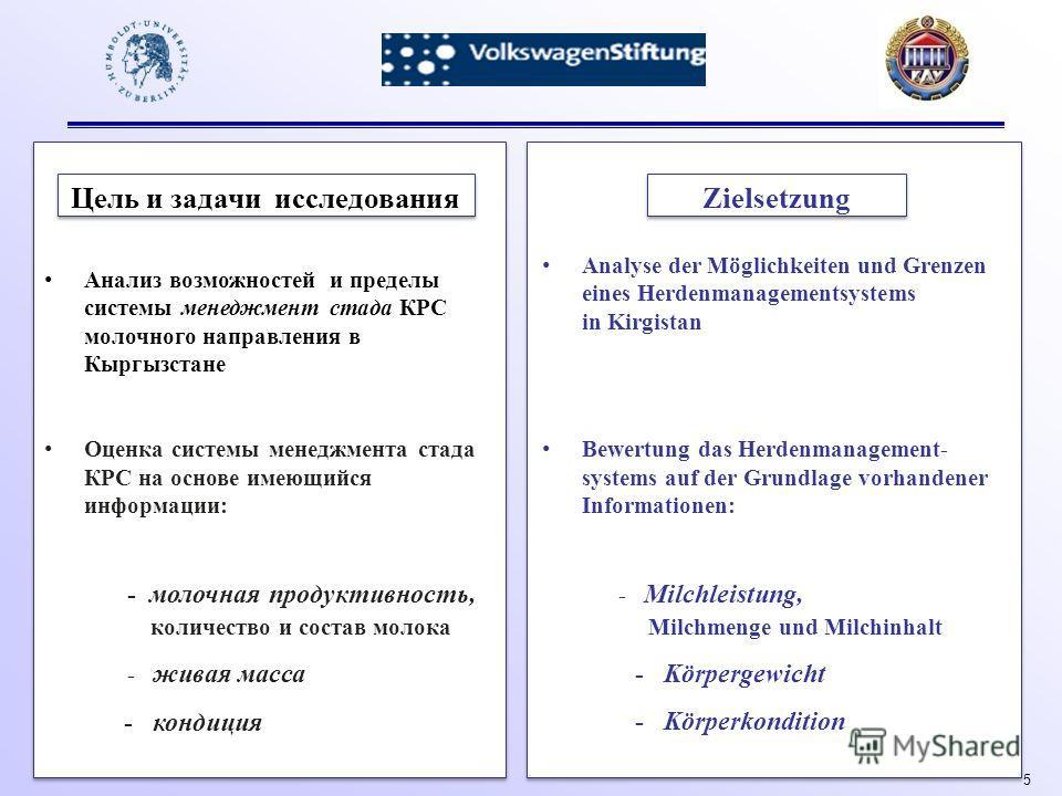 5 Цель и задачи исследования Zielsetzung Анализ возможностей и пределы системы менеджмент стада КРС молочного направления в Кыргызстане Оценка системы менеджмента стада КРС на основе имеющийся информации: - молочная продуктивность, количество и соста