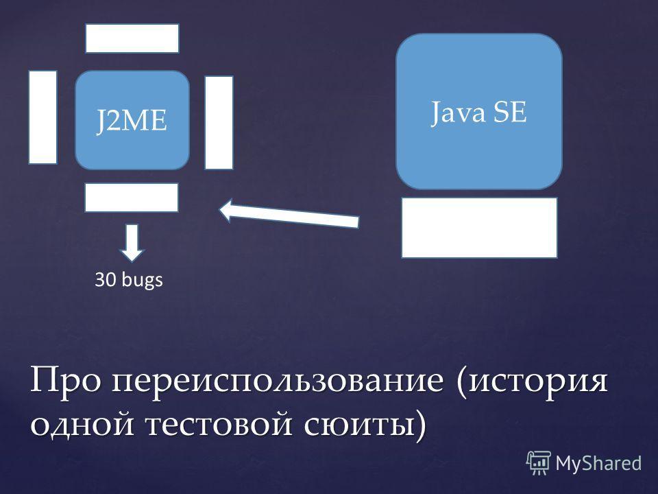 Про переиспользование (история одной тестовой сюиты) J2ME Java SE 30 bugs