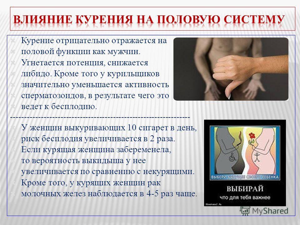 Курение отрицательно отражается на половой функции как мужчин. Угнетается потенция, снижается либидо. Кроме того у курильщиков значительно уменьшается активность сперматозоидов, в результате чего это ведет к бесплодию. -------------------------------