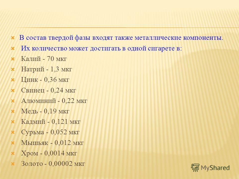 В состав твердой фазы входят также металлические компоненты. Их количество может достигать в одной сигарете в: Калий - 70 мкг Натрий - 1,3 мкг Цинк - 0,36 мкг Свинец - 0,24 мкг Алюминий - 0,22 мкг Медь - 0,19 мкг Кадмий - 0,121 мкг Сурьма - 0,052 мкг