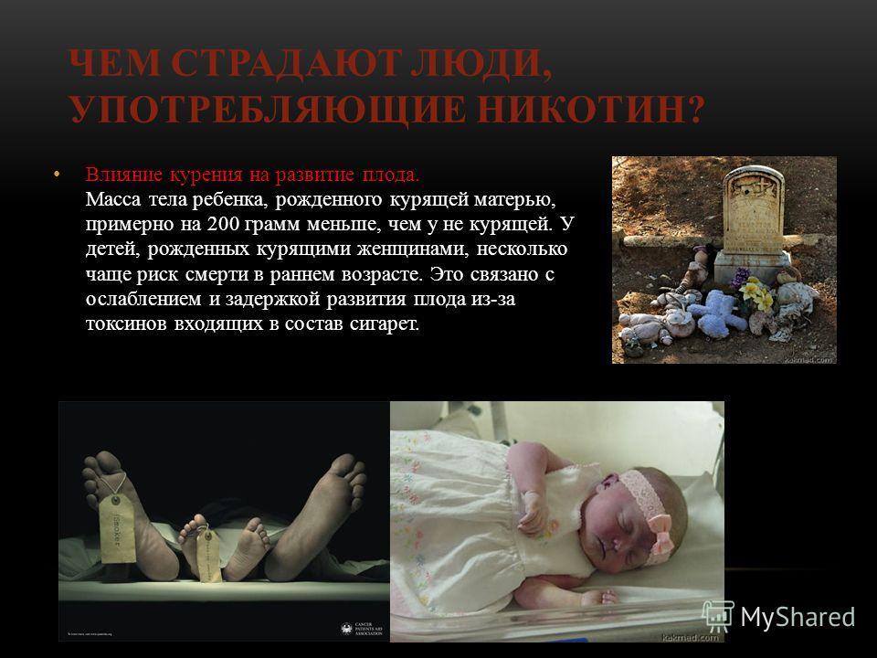 ЧЕМ СТРАДАЮТ ЛЮДИ, УПОТРЕБЛЯЮЩИЕ НИКОТИН? Влияние курения на развитие плода. Масса тела ребенка, рожденного курящей матерью, примерно на 200 грамм меньше, чем у не курящей. У детей, рожденных курящими женщинами, несколько чаще риск смерти в раннем во