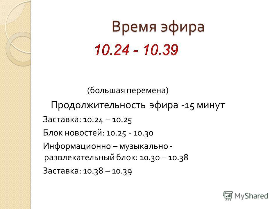 Время эфира ( большая перемена ) Продолжительность эфира -15 минут Заставка : 10.24 – 10.25 Блок новостей : 10.25 - 10.30 Информационно – музыкально - развлекательный блок : 10.30 – 10.38 Заставка : 10.38 – 10.39