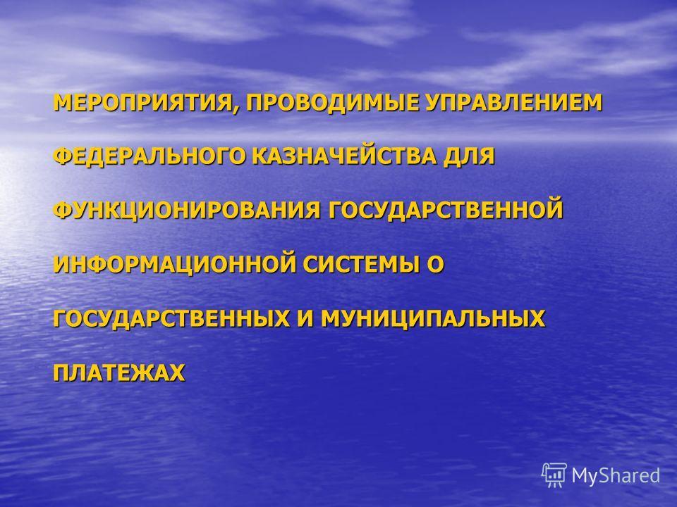 МЕРОПРИЯТИЯ, ПРОВОДИМЫЕ УПРАВЛЕНИЕМ ФЕДЕРАЛЬНОГО КАЗНАЧЕЙСТВА ДЛЯ ФУНКЦИОНИРОВАНИЯ ГОСУДАРСТВЕННОЙ ИНФОРМАЦИОННОЙ СИСТЕМЫ О ГОСУДАРСТВЕННЫХ И МУНИЦИПАЛЬНЫХ ПЛАТЕЖАХ