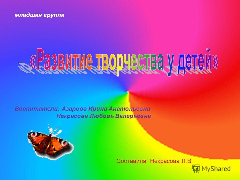 младшая группа Воспитатели: Азарова Ирина Анатольевна Некрасова Любовь Валерьевна Составила: Некрасова Л.В
