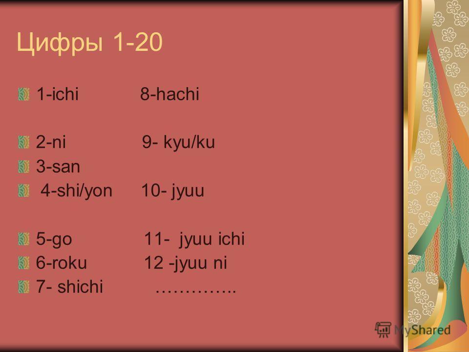 Цифры 1-20 1-ichi 8-hachi 2-ni 9- kyu/ku 3-san 4-shi/yon 10- jyuu 5-go 11- jyuu ichi 6-roku 12 -jyuu ni 7- shichi …………..