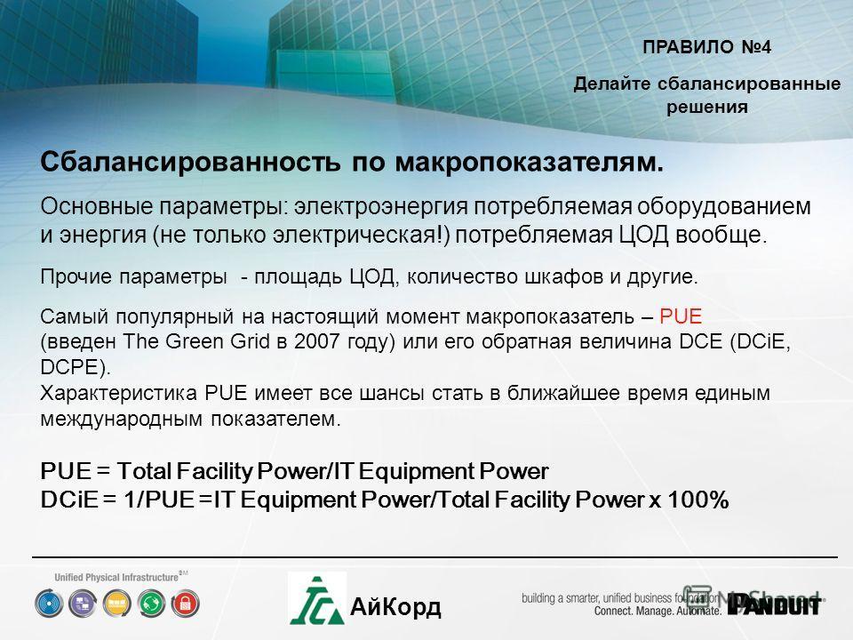 SM АйКорд ПРАВИЛО 4 Делайте сбалансированные решения Сбалансированность по макропоказателям. Основные параметры: электроэнергия потребляемая оборудованием и энергия (не только электрическая!) потребляемая ЦОД вообще. Прочие параметры - площадь ЦОД, к
