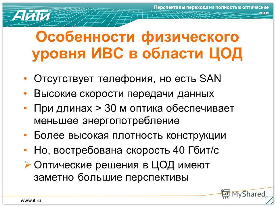 Перспективы перехода на полностью оптические сети www.it.ru Особенности физического уровня ИВС в области ЦОД Отсутствует телефония, но есть SAN Высокие скорости передачи данных При длинах > 30 м оптика обеспечивает меньшее энергопотребление Более выс