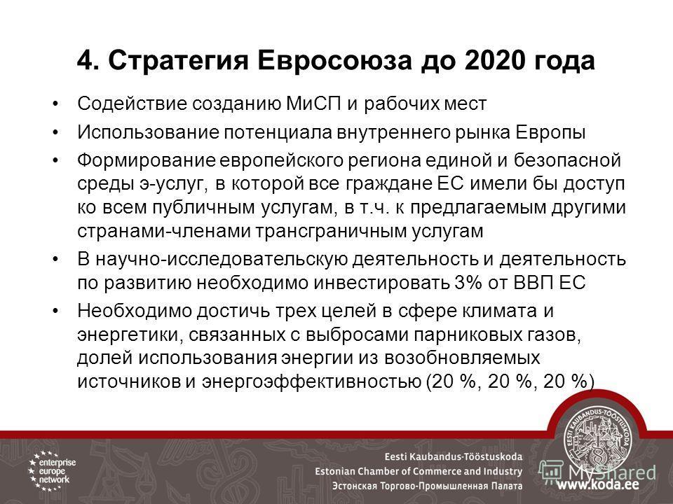 4. Стратегия Евросоюза до 2020 года Содействие созданию МиСП и рабочих мест Использование потенциала внутреннего рынка Европы Формирование европейского региона единой и безопасной среды э-услуг, в которой все граждане ЕС имели бы доступ ко всем публи