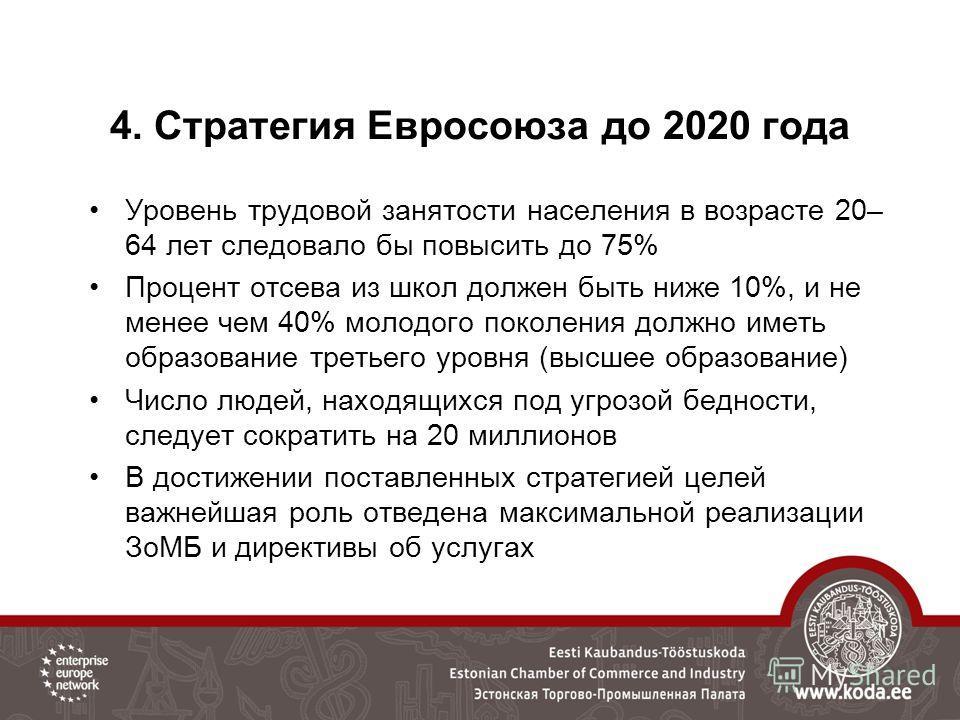 4. Стратегия Евросоюза до 2020 года Уровень трудовой занятости населения в возрасте 20– 64 лет следовало бы повысить до 75% Процент отсева из школ должен быть ниже 10%, и не менее чем 40% молодого поколения должно иметь образование третьего уровня (в