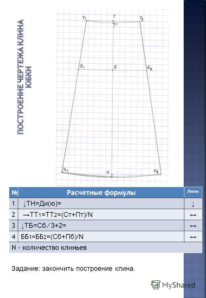 Расчетные формулы Лини 1 ТН=Ди(ю)= 2 ТТ 1 =ТТ 2 =(Ст+Пт)/N 3 ТБ=Сб 3+2= 4ББ 1 =ББ 2 =(Сб+Пб)/N N – количество клиньев Задание: закончить построение клина.