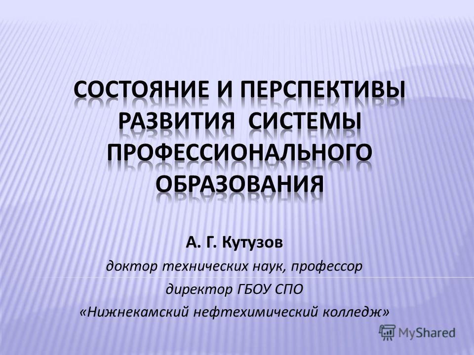 А. Г. Кутузов доктор технических наук, профессор директор ГБОУ СПО «Нижнекамский нефтехимический колледж»