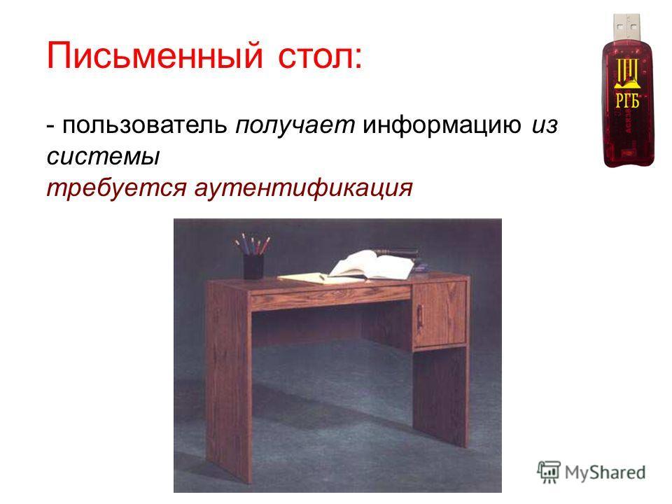 Письменный стол: - пользователь получает информацию из системы требуется аутентификация