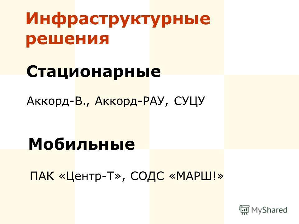 Инфраструктурные решения Стационарные Аккорд-В., Аккорд-РАУ, СУЦУ Мобильные ПАК «Центр-Т», СОДС «МАРШ!»