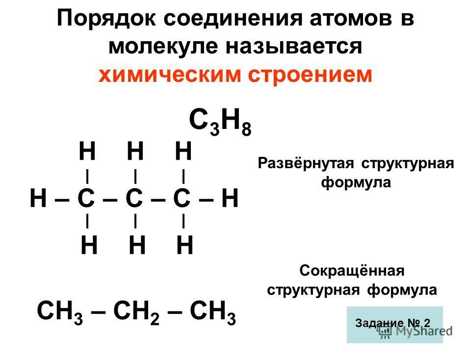 Порядок соединения атомов в молекуле называется химическим строением С3Н8С3Н8 Развёрнутая структурная формула Н Н Н Н – С – С – С – Н Н Н Н СН 3 – СН 2 – СН 3 Сокращённая структурная формула Задание 2