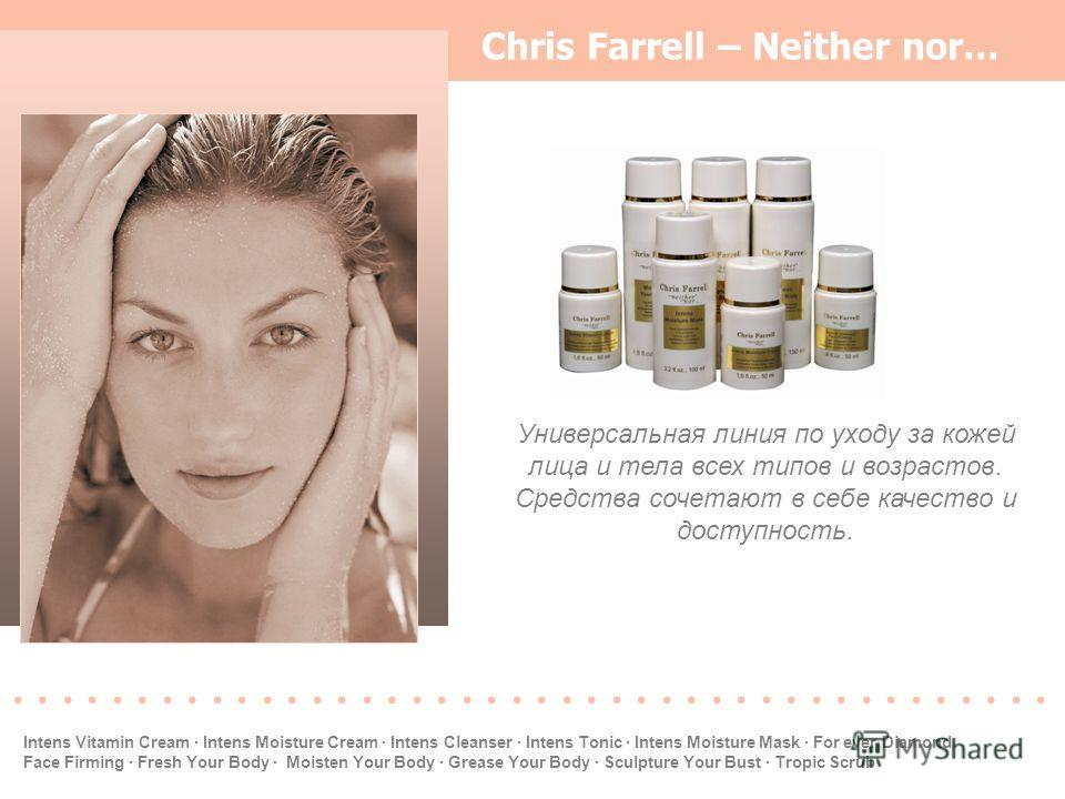Chris Farrell – Neither nor… Универсальная линия по уходу за кожей лица и тела всех типов и возрастов. Средства сочетают в себе качество и доступность...................... Intens Vitamin Cream · Intens Moisture Cream · Intens Cleanser · Intens Tonic