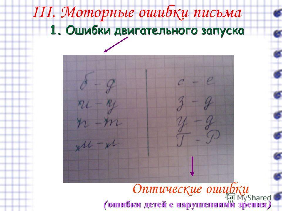 III. Моторные ошибки письма 1.Ошибки двигательного запуска 1. Ошибки двигательного запуска Оптические ошибки ( ошибки детей с нарушениями зрения )