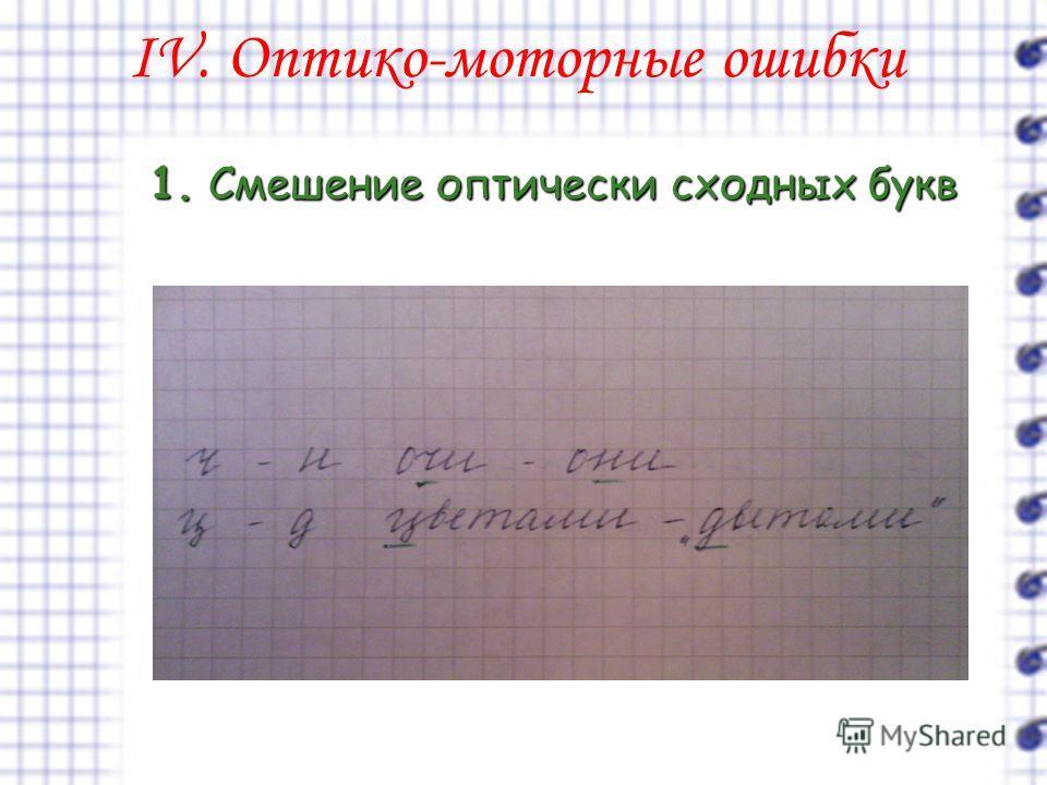 IV. Оптико-моторные ошибки 1. Смешение оптически сходных букв
