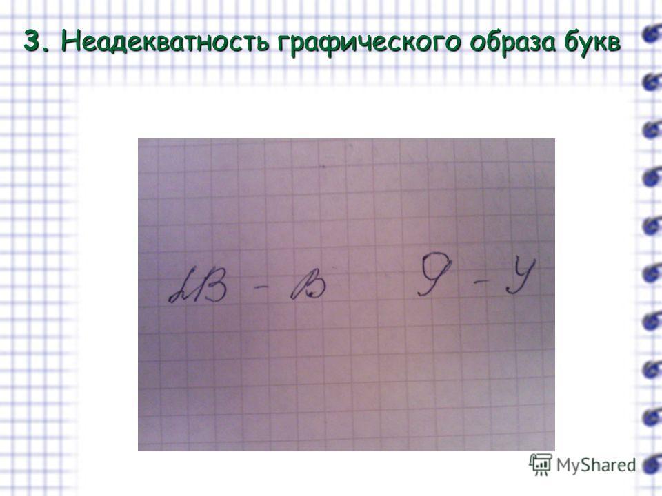 3. Неадекватность графического образа букв