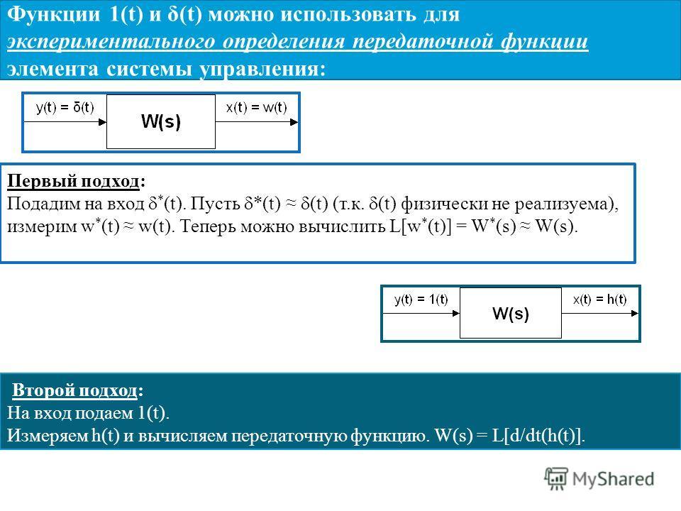 Функции 1(t) и δ(t) можно использовать для экспериментального определения передаточной функции элемента системы управления: Первый подход: Подадим на вход * (t). Пусть *(t) (t) (т.к. (t) физически не реализуема), измерим w * (t) w(t). Теперь можно вы