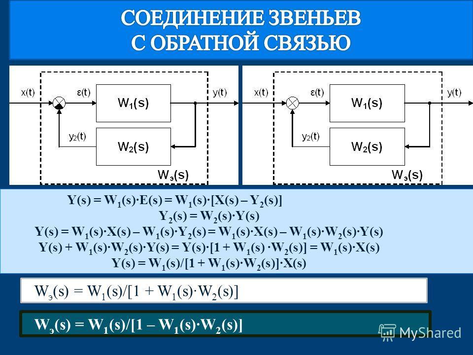Y(s) = W 1 (s)·E(s) = W 1 (s)·[X(s) – Y 2 (s)] Y 2 (s) = W 2 (s)·Y(s) Y(s) = W 1 (s)·X(s) – W 1 (s)·Y 2 (s) = W 1 (s)·X(s) – W 1 (s)·W 2 (s)·Y(s) Y(s) + W 1 (s)·W 2 (s)·Y(s) = Y(s)·[1 + W 1 (s) ·W 2 (s)] = W 1 (s)·X(s) Y(s) = W 1 (s)/[1 + W 1 (s)·W 2