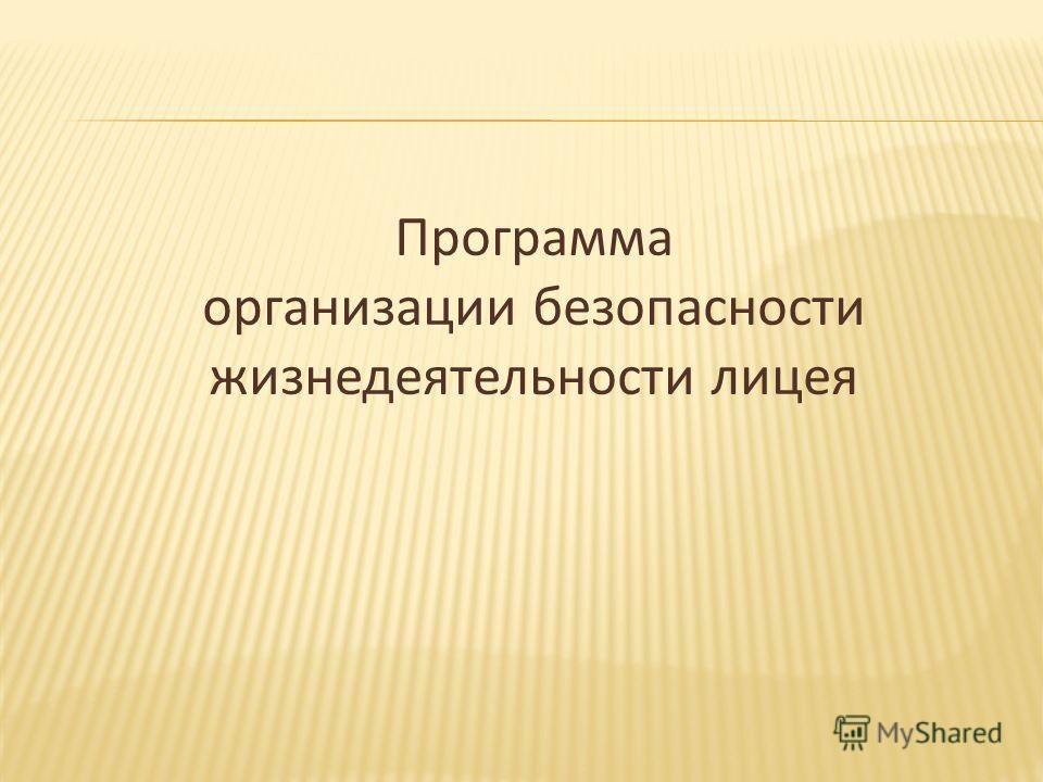 Программа организации безопасности жизнедеятельности лицея