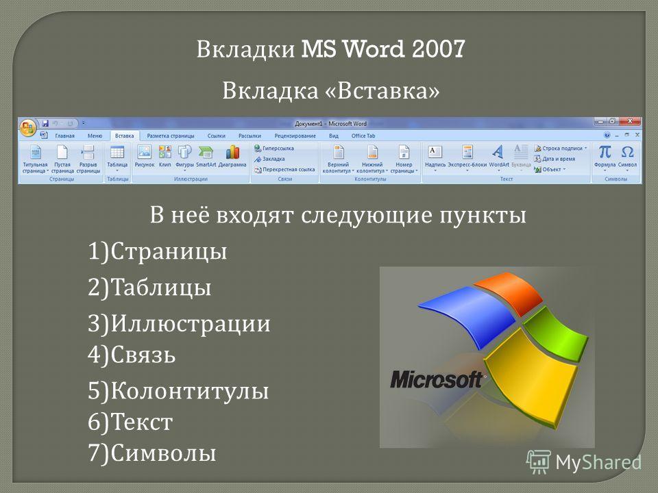 Вкладки MS Word 2007 Вкладка « Меню » В неё входят следующие пункты 1) Файл 2) Рисование
