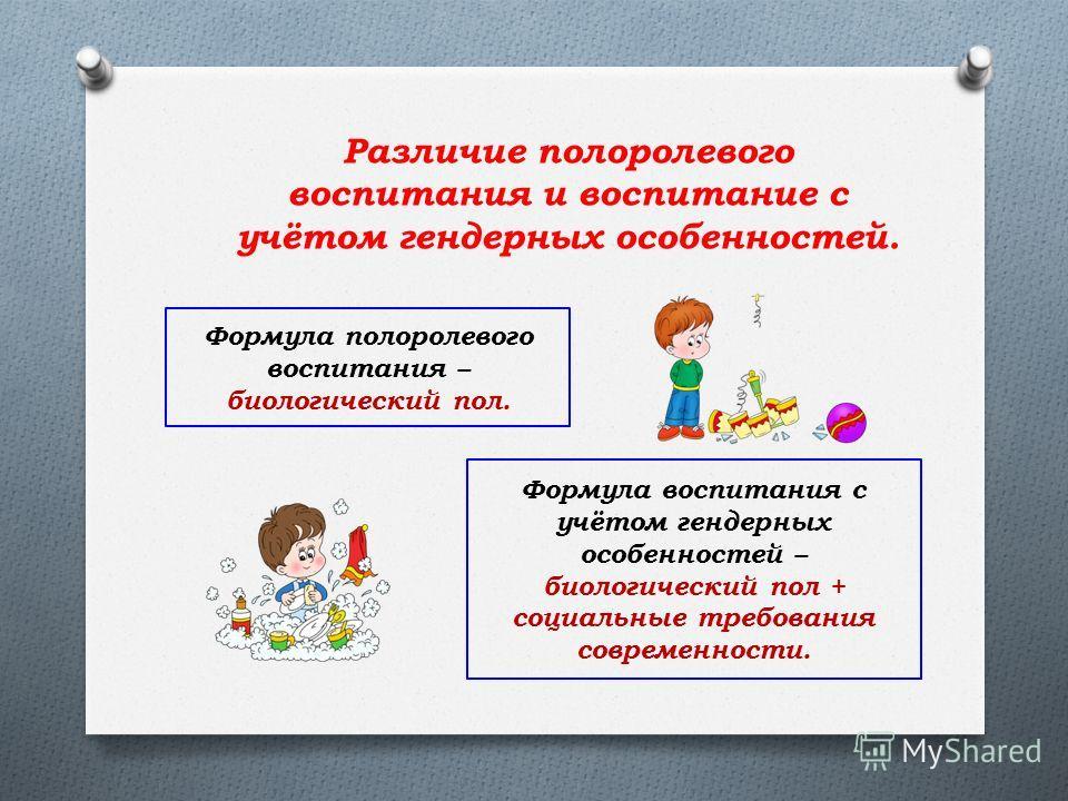 Различие полоролевого воспитания и воспитание с учётом гендерных особенностей. Формула полоролевого воспитания – биологический пол. Формула воспитания с учётом гендерных особенностей – биологический пол + социальные требования современности.
